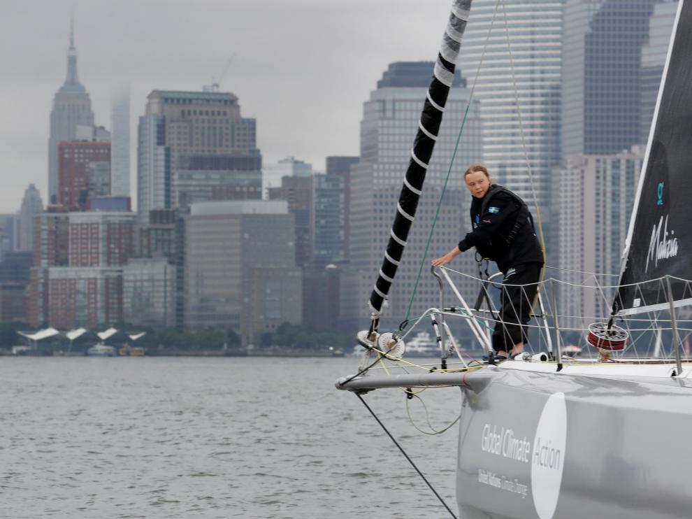 Greta Thunberg llega a Nueva York tras dos semanas de travesía atlántica en velero.