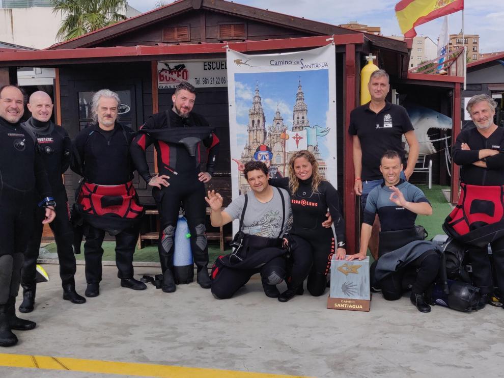 Buceadores de la iniciativa 'Camino de Santiagua'.