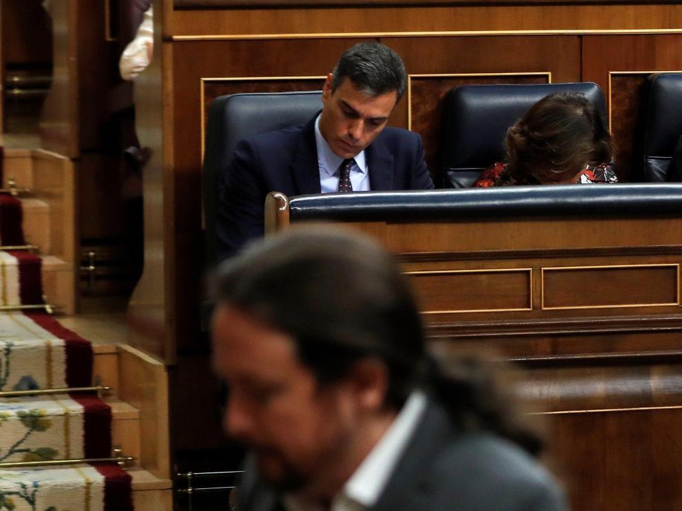 Sánchez e Iglesias coincidieron en la sesión de este miércoles en el Congreso de los Diputados