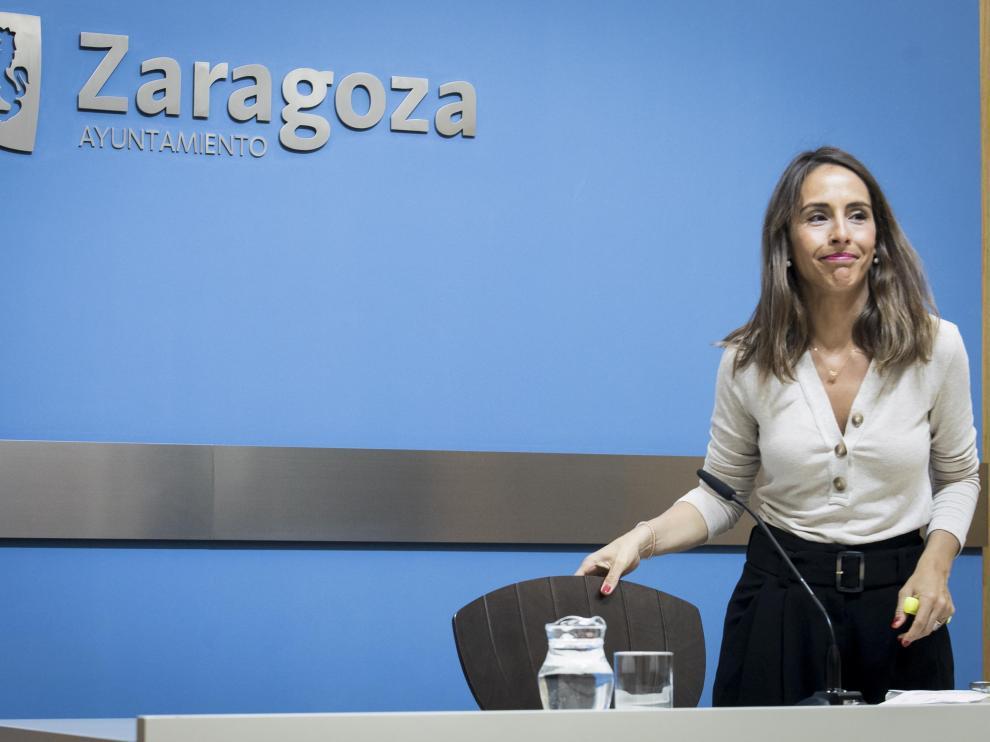 La concejal de Hacienda, María Navarro, el pasado miércoles en el Ayuntamiento de Zaragoza