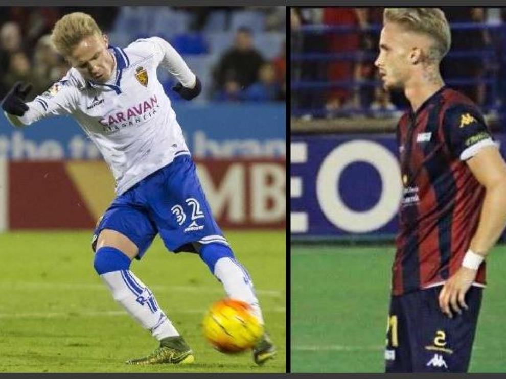 Sergio Gil, en sus inicios con el Real Zaragoza (izda. en 2016) y actualmente, recién llegado al Extremadura (dcha., 2019).