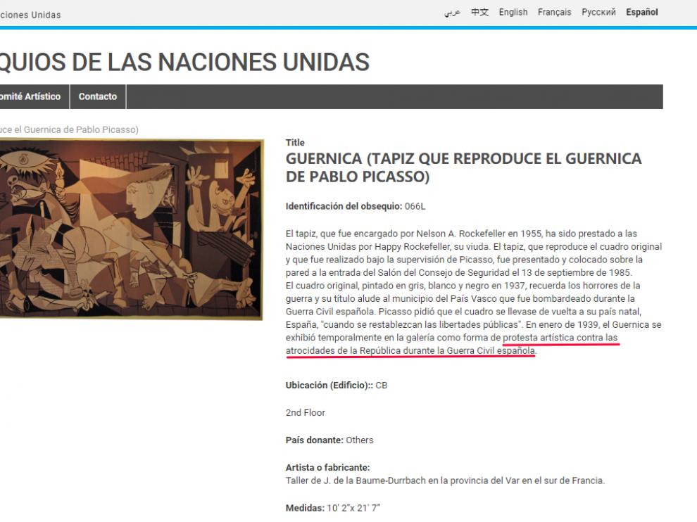 Texto que aparece en la web de la ONU