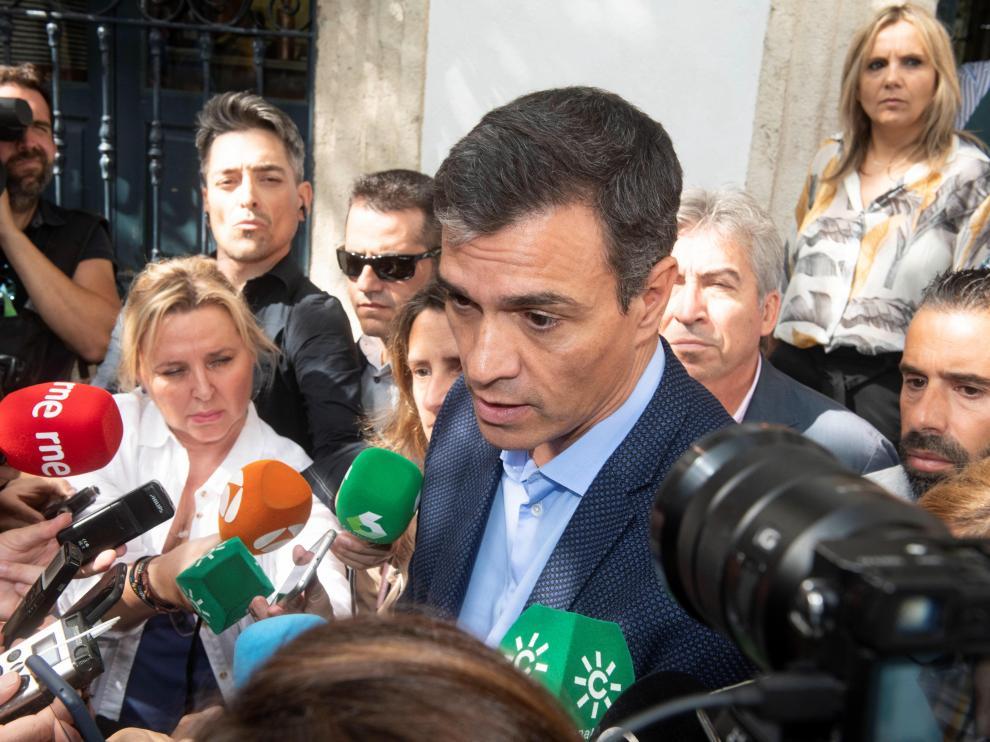 Pedro Sánchez, este lunes en Níjar (Almería).