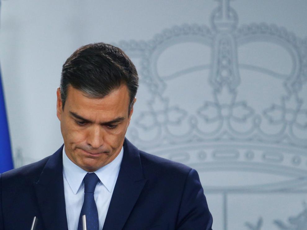 El presidente Pedro Sánchez en la rueda de prensa tras conocerse que no hay candidato a la investidura