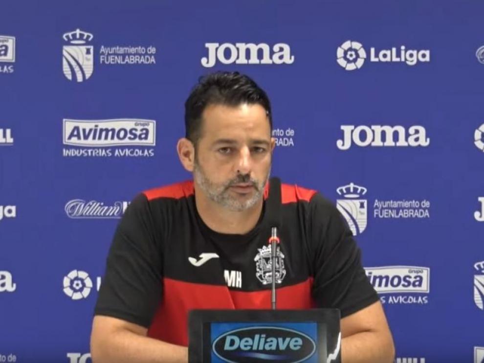 Mere Hermoso, entrenador del Fuenlabrada, este martes en la rueda de prensa.