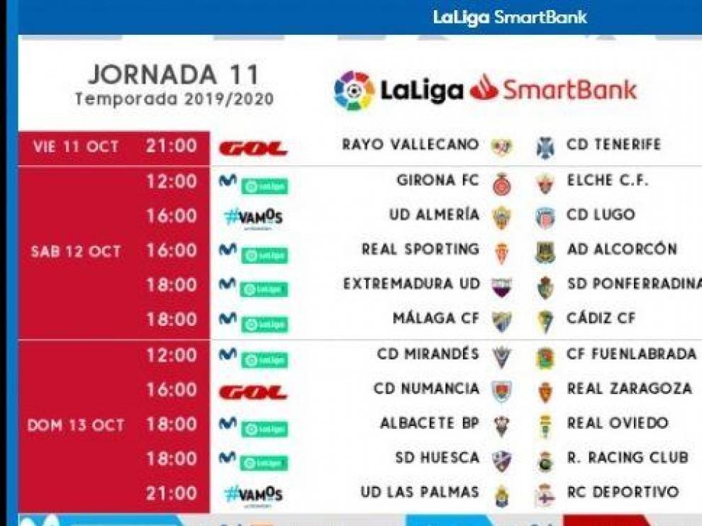 Horarios y fechas de la 11ª jornada, que llevará al Real Zaragoza a Soria para jugar ante el Numancia el domingo 13 de octubre a las 16.00.
