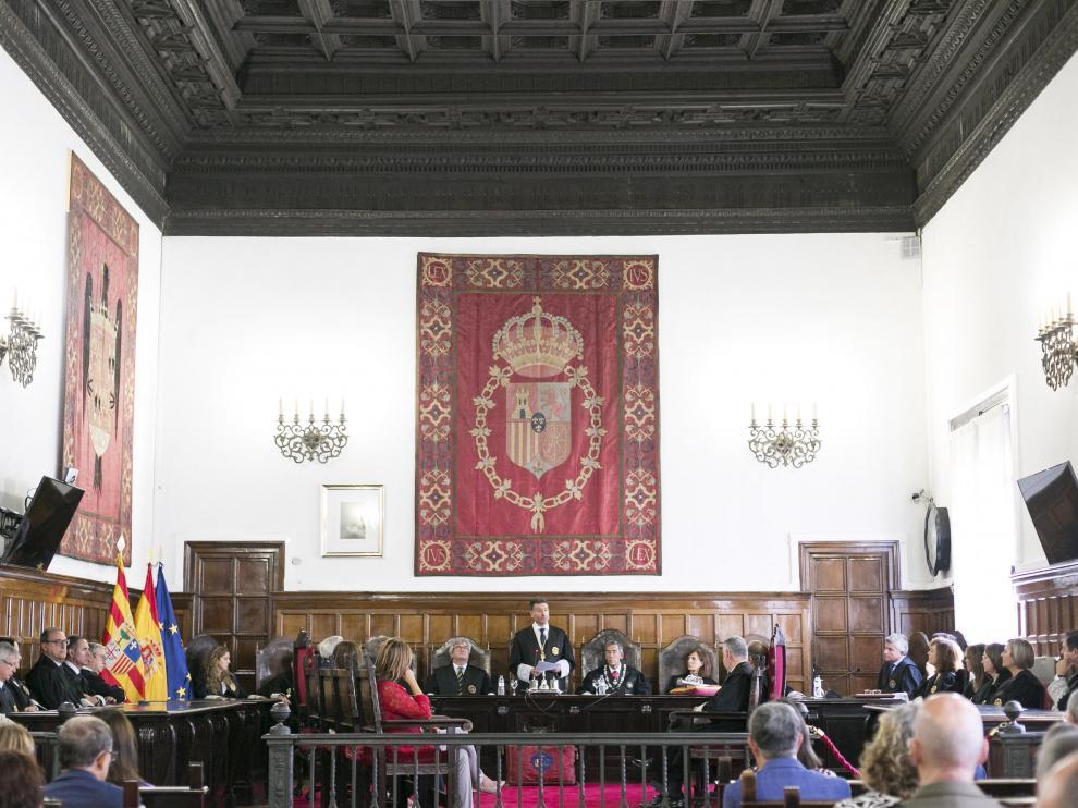 El presidente del TSJA, Manuel Bellido, durante su discurso en el acto de apertura del año judicial.