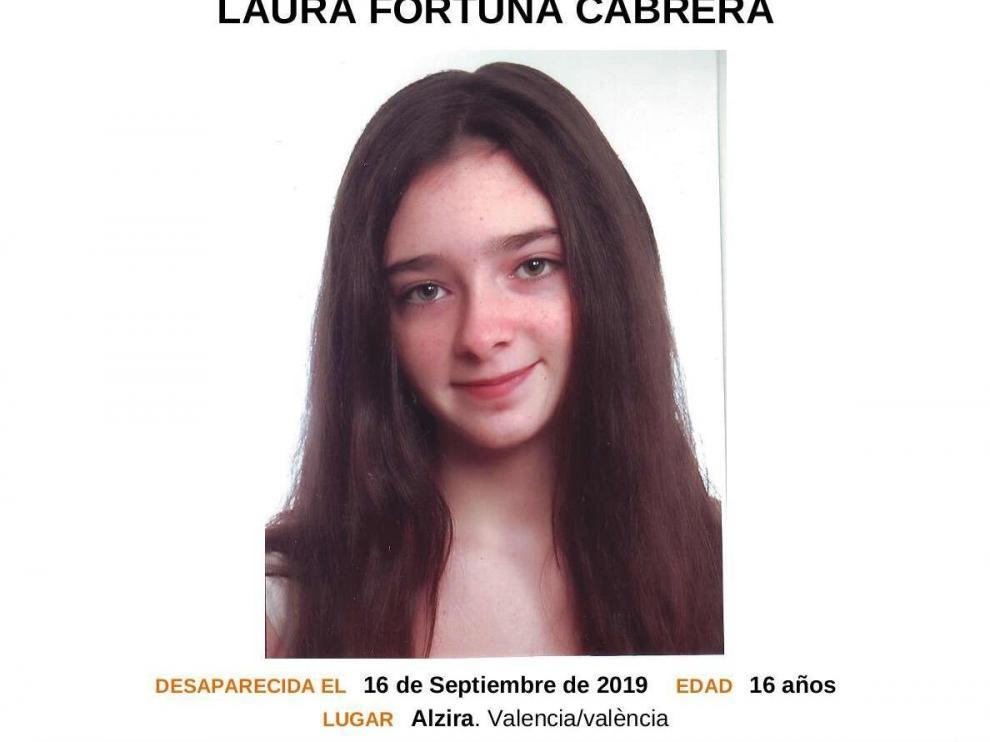 Imagen facilitada por las autoridades de Laura Fortuna Cabrera, la menor de 16 años desaparecida en Alzira (Valencia).