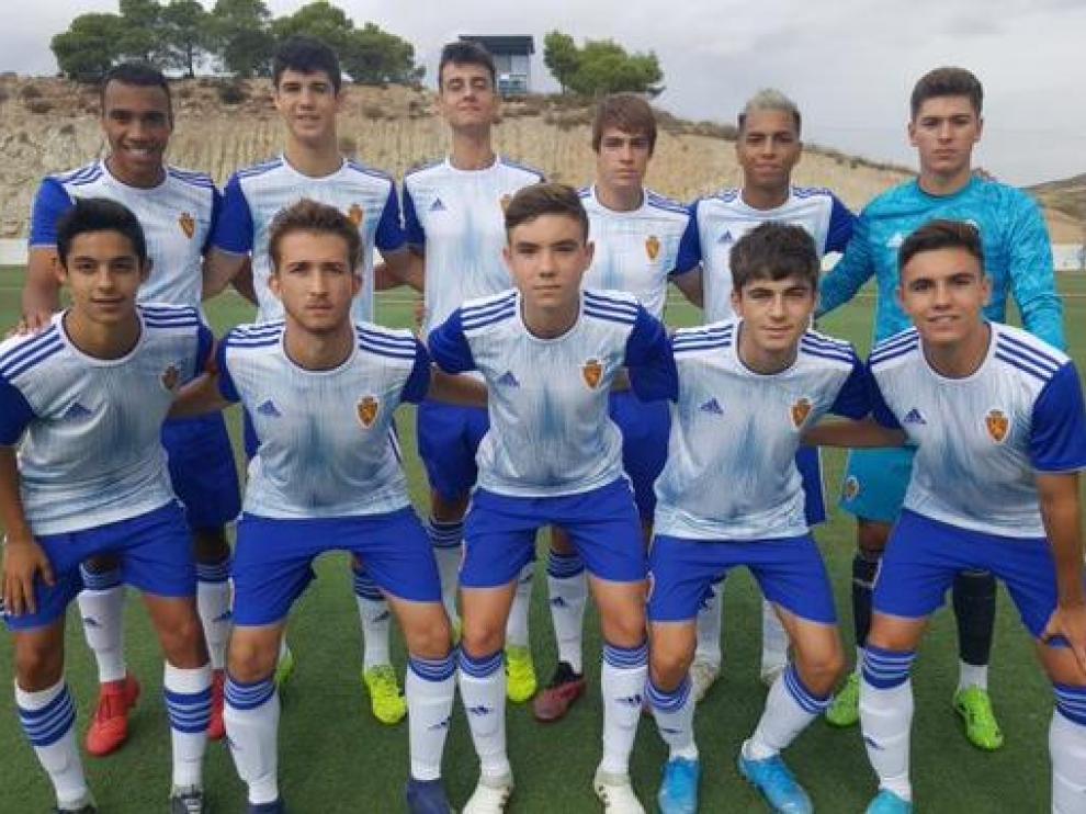 Once inicial del Real Zaragoza, Liga Nacional Juvenil, ante el San José.