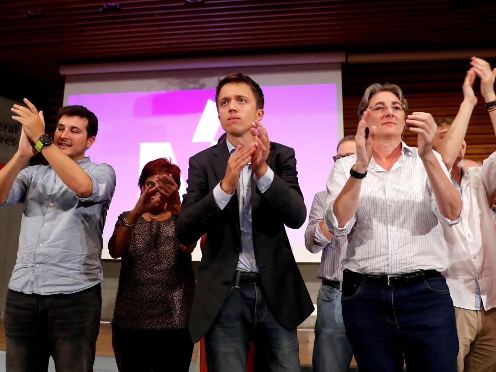 Errejón, en el centro, durante la presentación de su candidatura