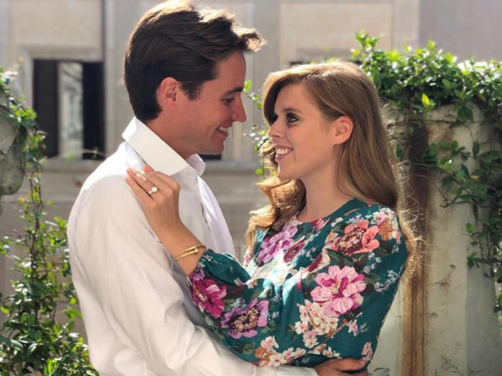 Undated picture released by Buckingham Palace shows Princess Beatrice and Edoardo Mapelli Mozzi in Italy, whose engagement has been announced today, in this handout obtained by Reuters on September 26, 2019. Princess Eugenie/Handout via REUTERS ATTENTION EDITORS - THIS IMAGE WAS PROVIDED BY A THIRD PARTY. NO RESALES. NO ARCHIVES. EDITORIAL USE ONLY. MANDATORY CREDIT. NO COMMERCIAL OR BOOK SALES. NO COMMERCIAL USE (including any use in merchandising, advertising or any other non-editorial use including, for example, calendars, books and supplements). NOT FOR USE AFTER 26 OCTOBER, 2019. The photograph must not be digitally enhanced, manipulated or modified in any manner or form and must include all of the individuals in the photograph when published. All other requests for use should be directed in writing to the Press Office at Buckingham Palace. This handout photo may only be used in for editorial reporting purposes for the contemporaneous illustration of events, things or the people i