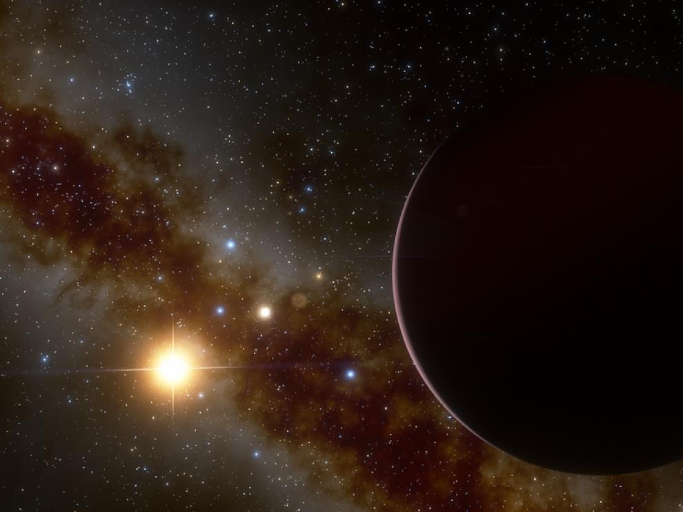 Recreación del planeta gigante gaseoso orbitando alrededor de su estrella.