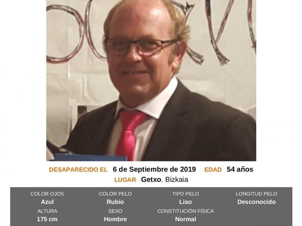 Cartel de búsqueda de José Antonio Delgado, el vecino de Getxo encontrado muerto en Zaragoza.