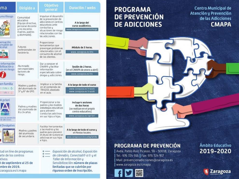 Portada del folleto informativo del programa de prevención