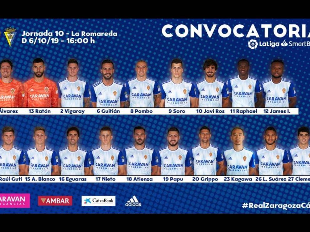 Lista de 19 convocados del Real Zaragoza para jugar este domingo ante el Cádiz en La Romareda.