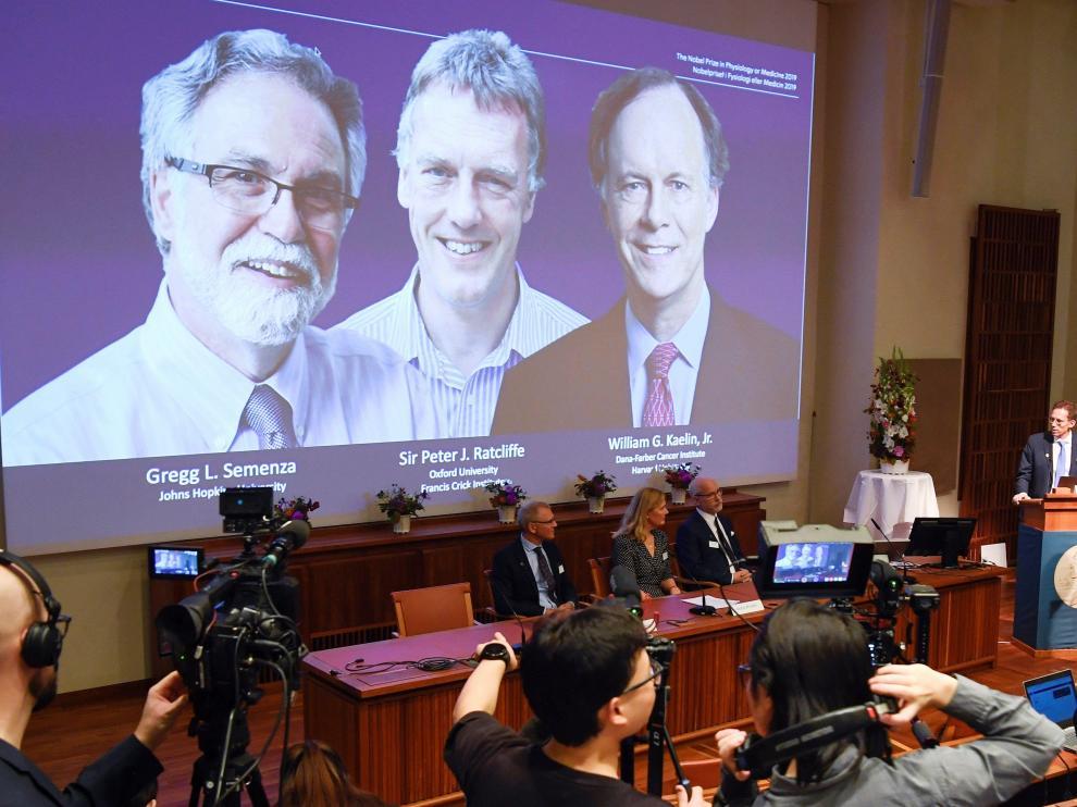 Ceremonia en la que se ha anunciado a William G. Kaelin, Gregg L. Semenza y Peter J. Ratcliffe como ganadores del premio Nobel de Medicina 2019