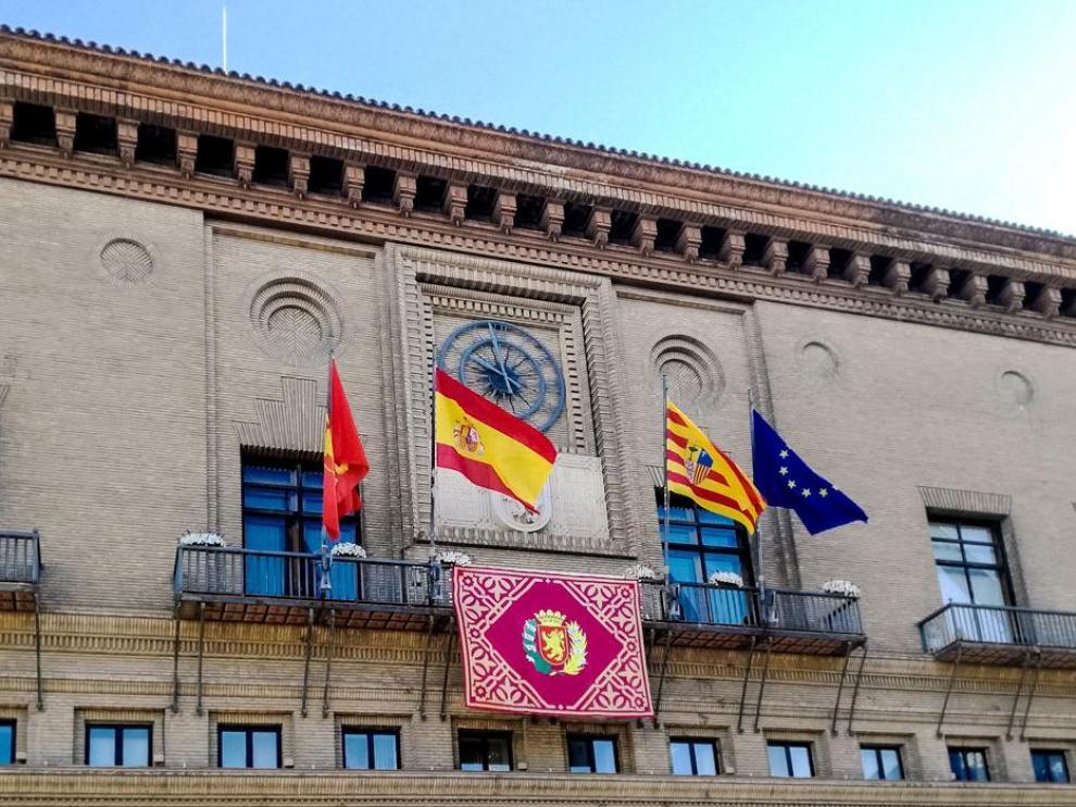 Fachada del Ayuntamiento de Zaragoza, en la actualidad.