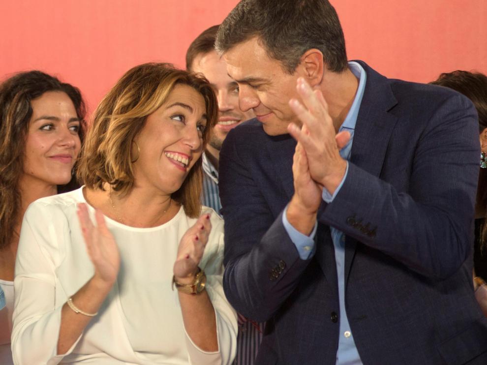 Pedro Sánchez, con Susana Díaz, este martes en un acto en Jaén.