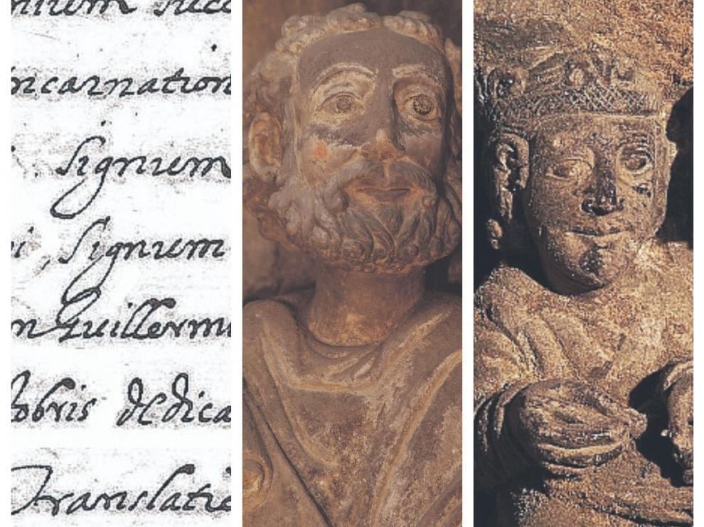 Detalle del manuscrito de Espés y tres detalles del ábside románico de la Seo.
