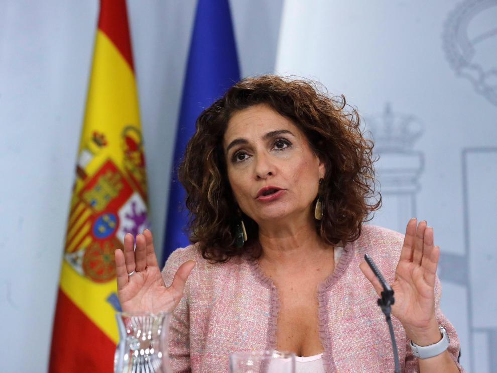 La ministra de Hacienda en funciones, María Jesús Montero, tras el Consejo de Ministros celebrado este viernes.