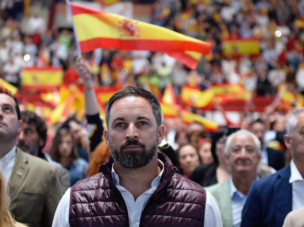 Santiago Abascal en un acto celebrado este domingo.
