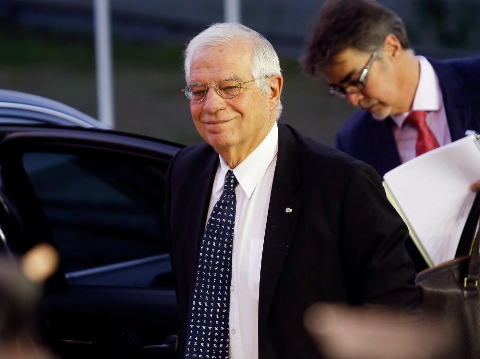 Borrell, este lunes a su llegada a una reunión en Luxemburgo.