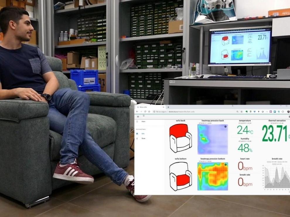Prototipo de sillón del proyecto Maturolife y mapeo de calor de uso del mismo.