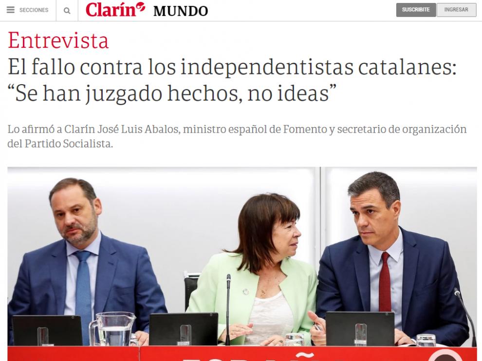 Entrevista al ministro José Luis Ábalos en el diario argentino Clarín.