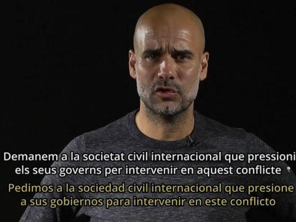 Fotograma del vídeo en el que aparece Pep Guardiola