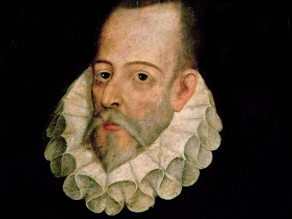 IND119216 Portrait of Miguel de Cervantes y Saavedra (1547-1615) 1600 (oil on panel) by Jauregui y Aguilar, Juan de (c.1566-1641); Real Academia de la Historia, Madrid, Spain; Index; Spanish, out of copyright IND119216