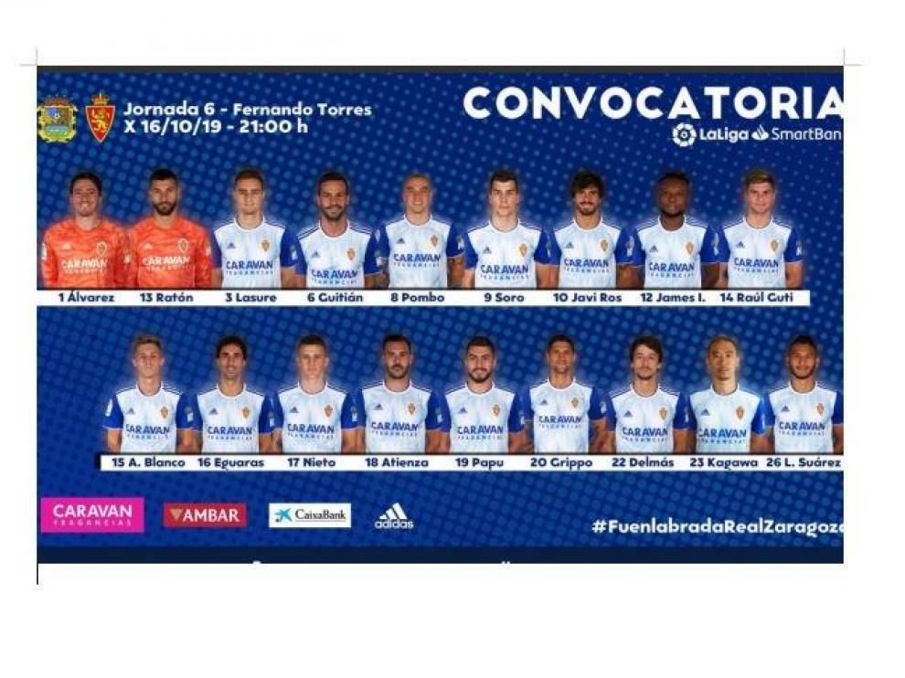Lista de 18 convocados del Real Zaragoza para el viaje de este miércoles a Fuenlabrada.