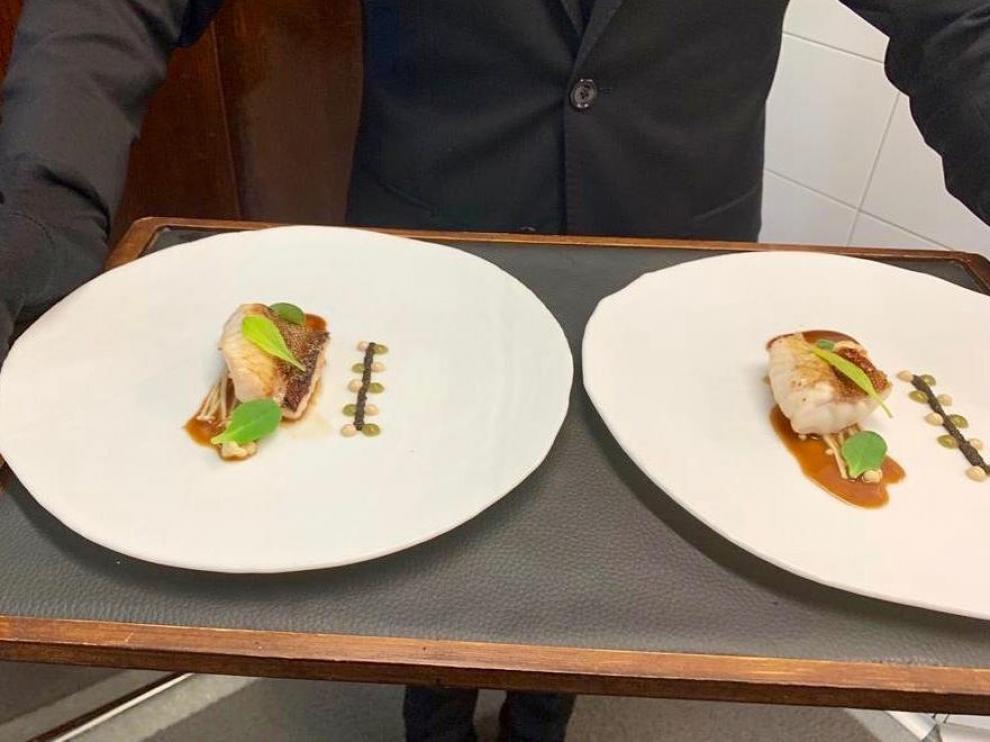 Una de las elaboraciones del Cancook Restaurant, premio al mejor restaurante de la Academia Aragonesa.