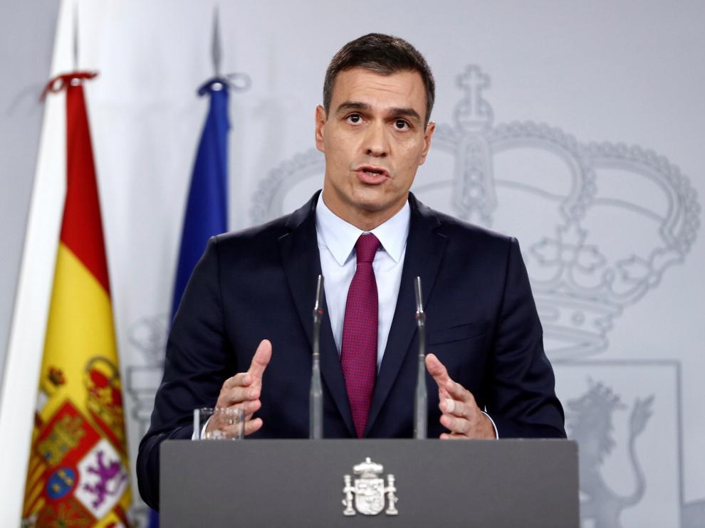 Pedro Sánchez, durante su comparecencia.