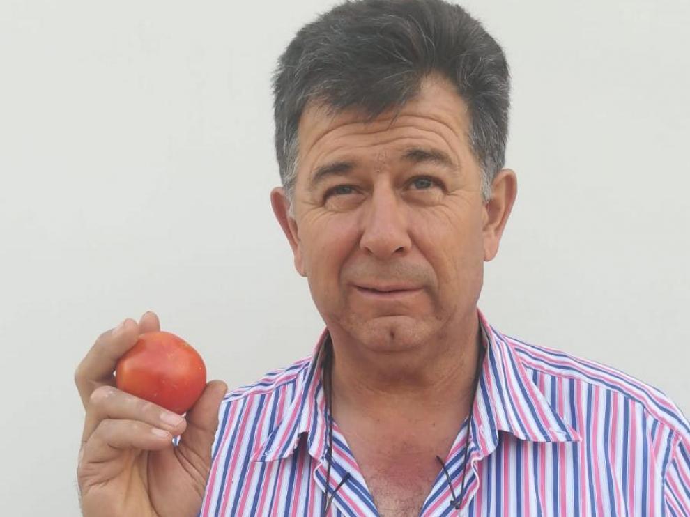 Carlos Gil muestra un ejemplar de tomate zaragozano en su mano derecha frente a una variedad más comercial, en la izquierda.
