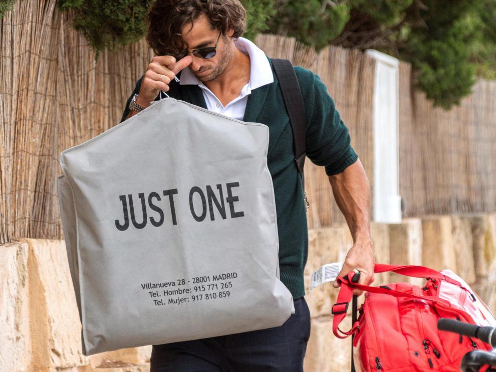 El tenista Feliciano López, a su llegada al hotel de Mallorca