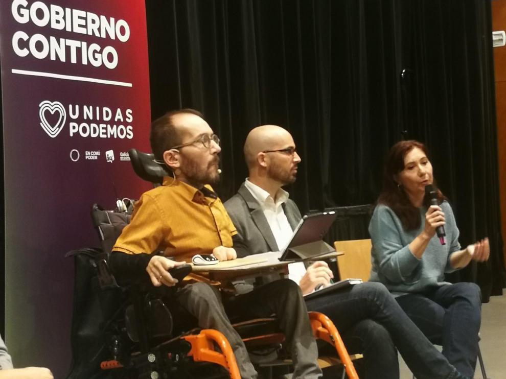 El candidato de Unidas Podemos al Congreso de los Diputados por Zaragoza, Pablo Echenique, este martes en la capital aragonesa