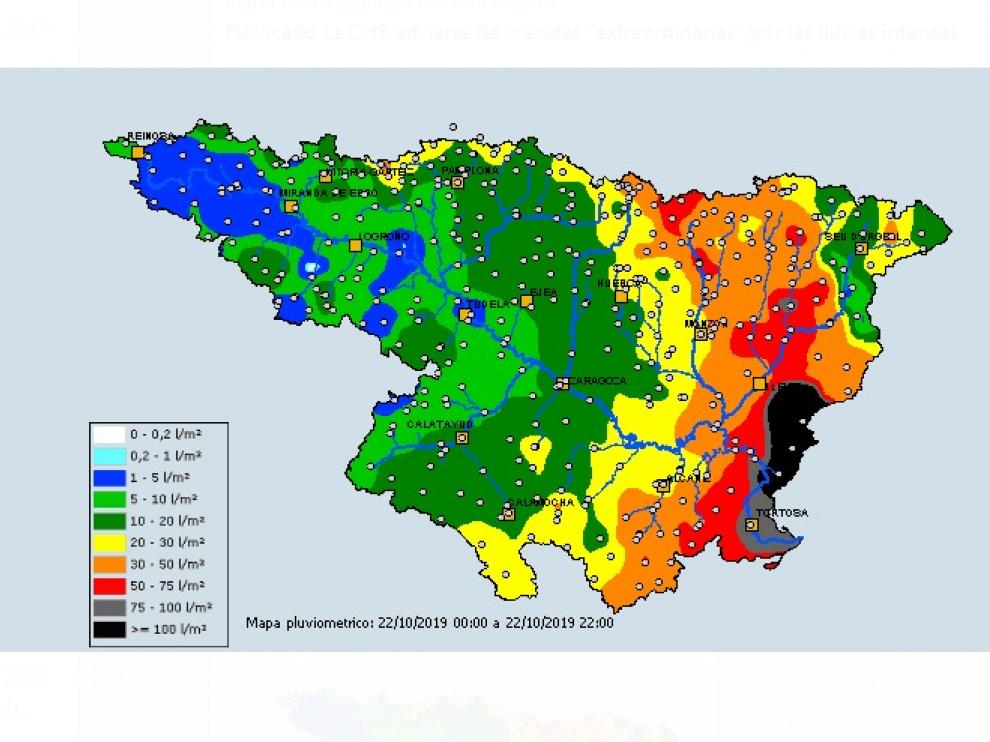 Mapa de la cuenca este martes, donde se observan mayores precipitaciones al este.