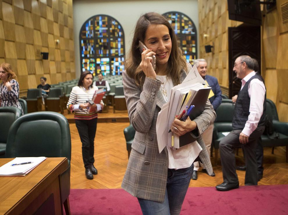 María Navarro, este martes en la comisión de Hacienda del Ayuntamiento de Zaragoza.