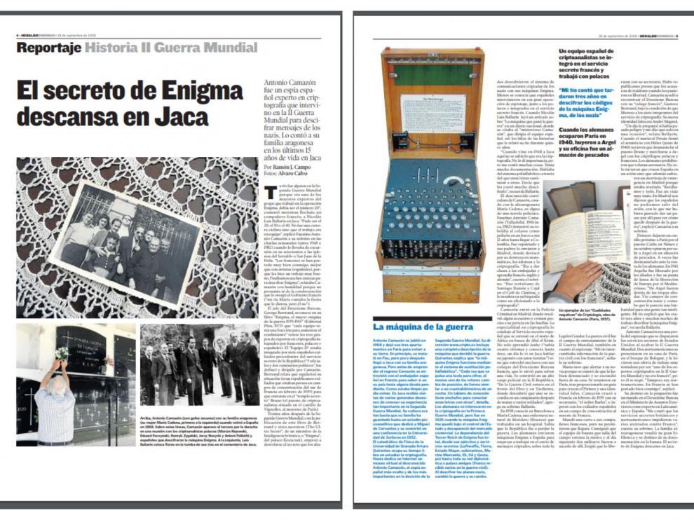 Reportaje sobre la máquina Enigma y Antonio Camazón publicado en Heraldo en 2008