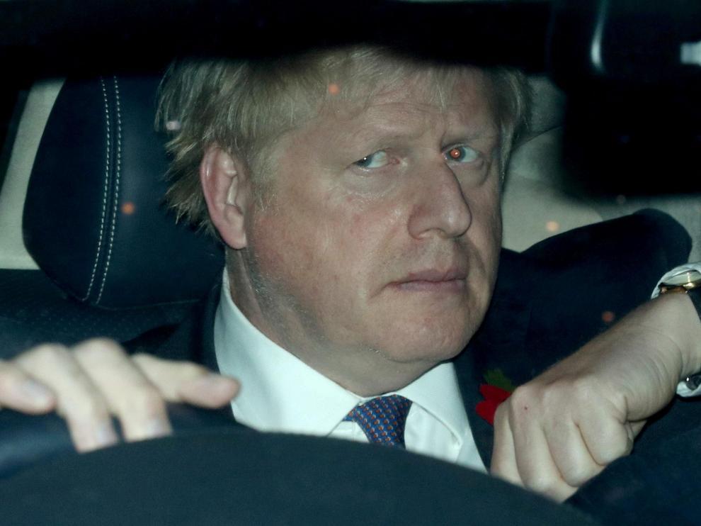 Boris Johnson, a su llegada al Parlamento británico.
