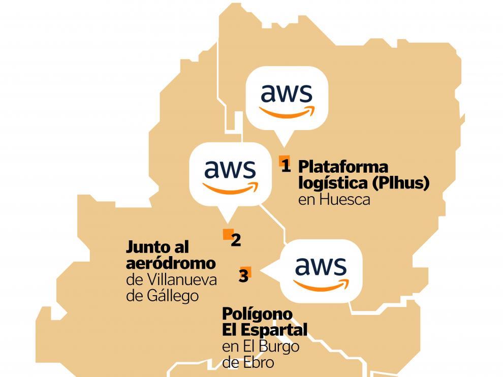 Ubicación prevista de los centros de datos de Amazon.