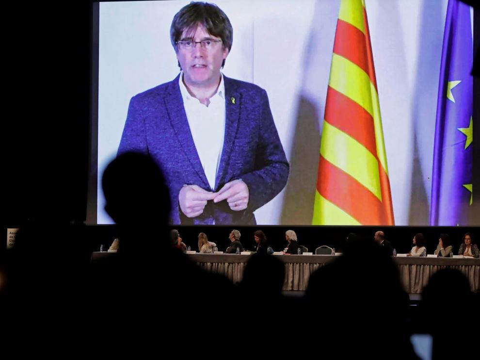 Puigdemont, durante su intervención por videoconferencia desde Bélgica.