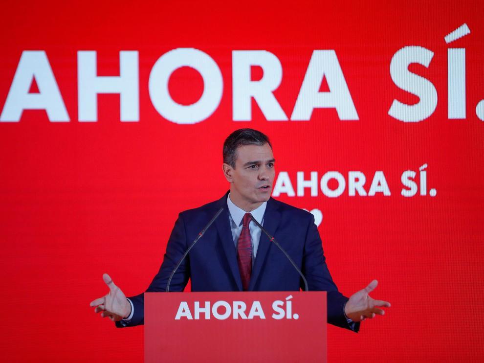 Sánchez, en la presentación de la campaña del PSOE para las elecciones del 10-N.