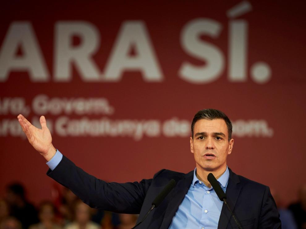 Pedro Sánchez en un acto preelectoral.