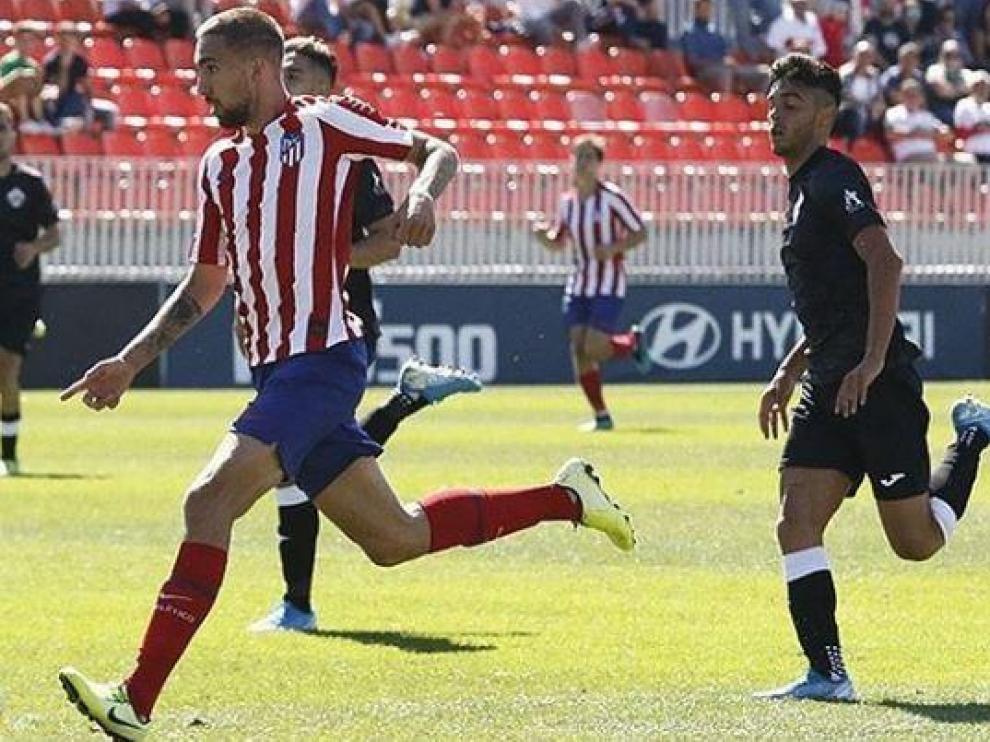 Darío, en un partido recientes del Atlético de Madrid B