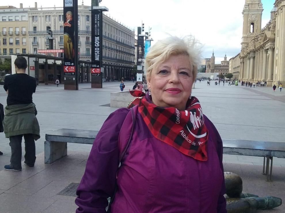 María José, tras la protesta de este lunes en la plaza del Pilar.
