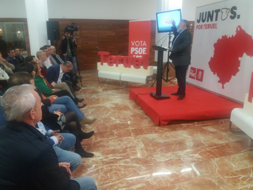 Herminio Sancho, en el mitin del PSOE en Teruel.
