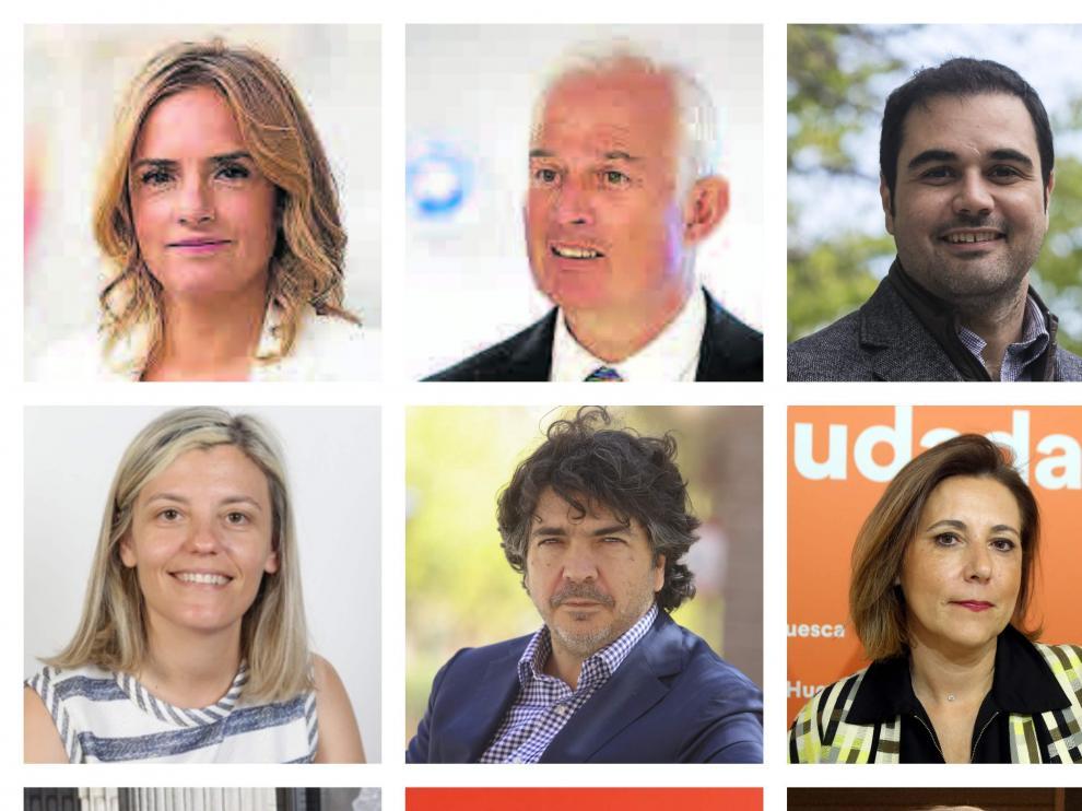 Combo con los cabeza de lista de PSOE, PP y Cs para Zaragoza, Huesca y Teruel