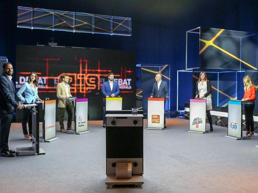 Los candidatos, durante el debate en TV3.
