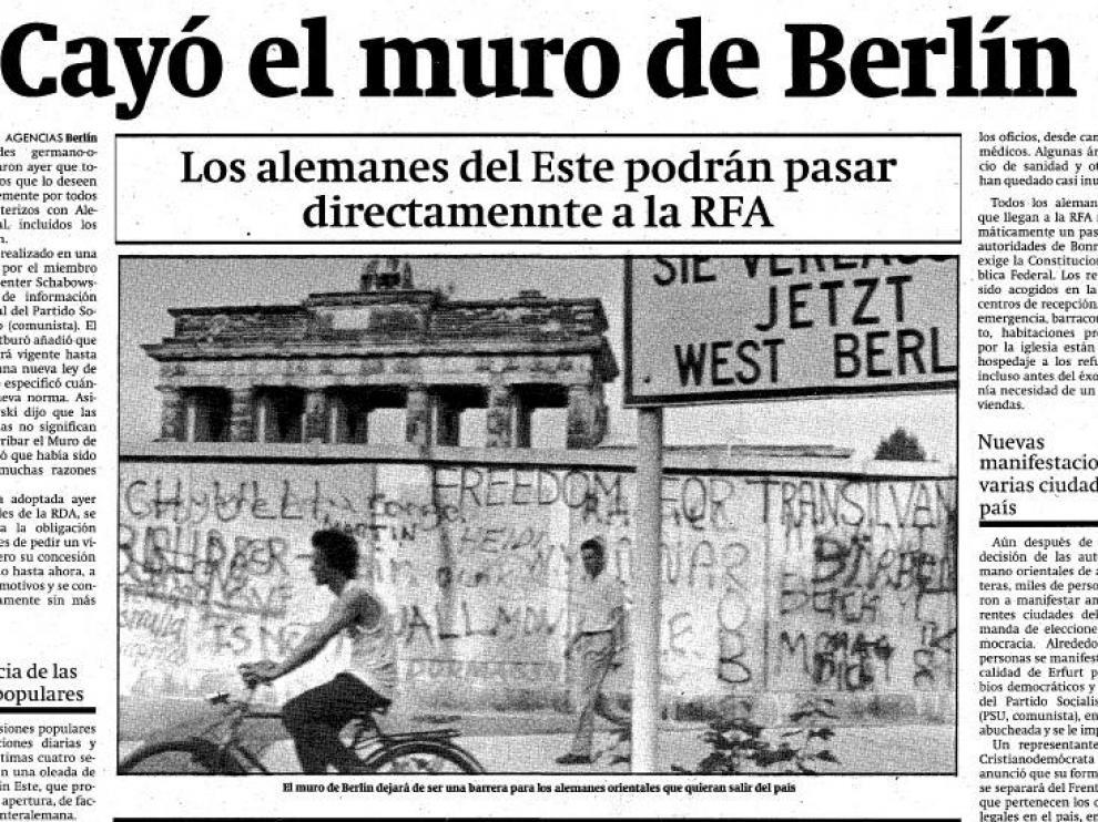 Así contó HERALDO DE ARAGÓN la caída del muro de Berlín